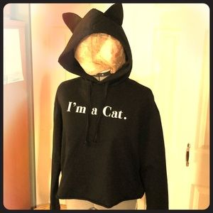 I'm a Cat Crop Top Hoodie with Hood and Ears M